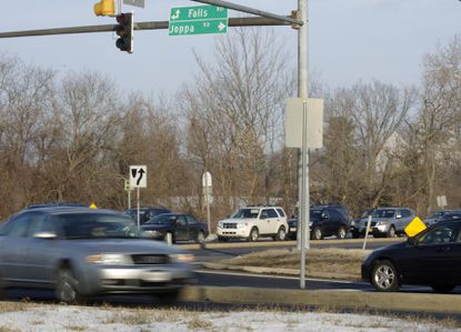 """The intersection Joppa and Falls Road was recently upgraded from being a failing, or """"F"""" intersection during peak hours to being rated """"D."""" File Photo"""