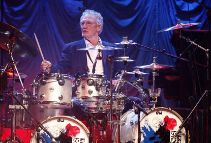 British musician Ginger Baker performs at the 'Zildjian Drummers Achievement Awards' at the Shepherd's Bush Empire in London in 2008.