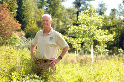 Charlie Conklin, president of Gunpowder Valley Conservancy, at one of the tree planting locations by the Loch Raven Skeet and Trap Center in Phoenix on Monday, Sept. 22.