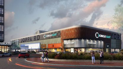 Rendering of the Circle East project's retail building.