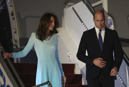 Britain's Prince William and his wife Kate arrive at Nur Khan base in Islamabad, Pakistan, Monday, Oct. 14, 2019. They are on a five-day visit, which authorities say will help further improve relations between the two countries.