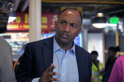 Baltimore mayoral candidate Thiru Vignarajah during a campaign appearance at Northeast Market Fri., Feb. 21, 2020.