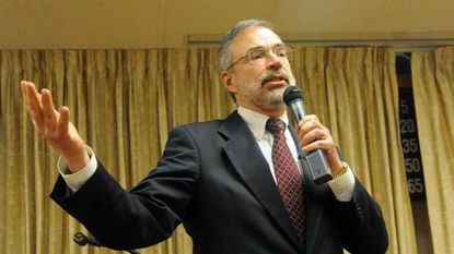 U.S. Rep. Andy Harris spoke to about 130 people during a town hall meeting at the Joppa-Magnolia fire hall.