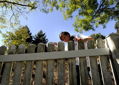 McDaniel College senior Christen Brown helps paint a fence one of Target Community & Educational Services' group homes in Westminster as part of United Way of Central Maryland's Day of Action Tuesday, September 11, 2012.
