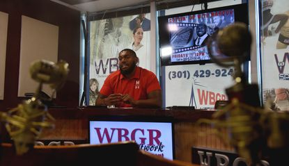 """Maryland offensive lineman Marcus Minor is the radio host for """"Cuttin' Up With Marcus"""" on WBGR Network Sports & Entertainment."""