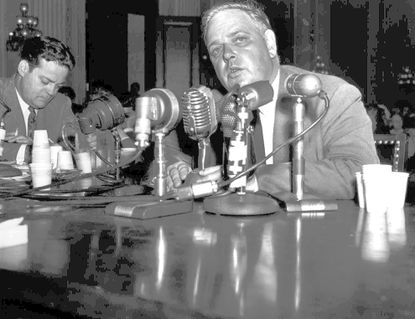 Whittaker Chambers, shown in this Aug. 3, 1948 file photo testifying before a House investigation committee in Washington, alleged that he had been given State Department secrets by Alger Hiss. (AP Photo/file)