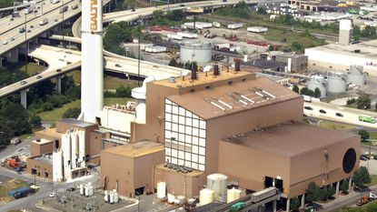 Aerial photo of Wheelabrator waste-to-energy incinerator on Russell Street.