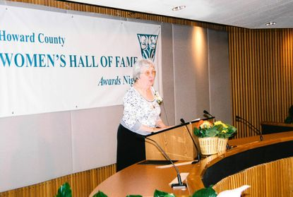 Joetta Cramm speaks at the Howard County Women's Hall of Fame induction ceremony in 2007.