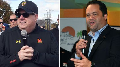 Republican Gov. Larry Hogan, left, and Democratic challenger Ben Jealous each hit campaign events on Saturday during the last weekend before Tuesday's general election.