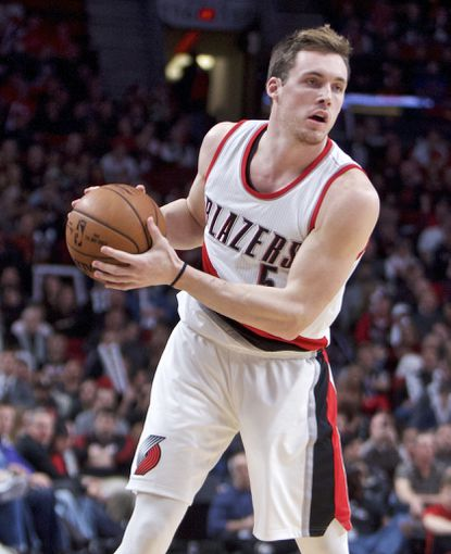 Trail Blazers guard Pat Connaughton is shown during the second half of a game in Portland, Ore., in 2016. Connaughton is now weighing whether to continue pursuing an NBA career or try for an MLB one with the Orioles.