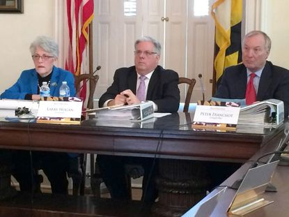 Maryland's Board of Public Works, shown here at its first meeting of the year in January, rejected a $20 million increase in a contract for a state first-responder radio system.