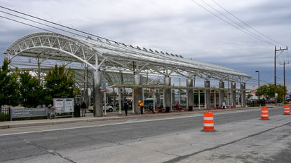 The Takoma Langley Crossroads Transit Center, a bus depot near one area that the Purple Line would eventually run through, is shown on Oct. 16, 2020.