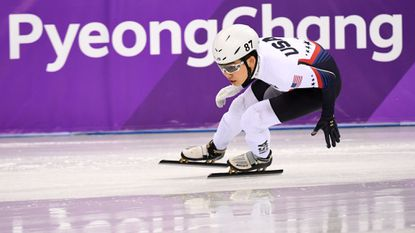 Thomas Hong competes in the men's 500-meter short track speed skating heat event during the Pyeongchang 2018 Winter Olympic Games on February 20, 2018.