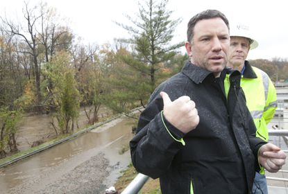 In October 2012, County Executive Ken Ulman and Bureau of Utilities Bureau Chief Steve Gerwin spoke at a press conference at the Little Patuxent Water Reclamation Plant. Ulman estimates that 20-25 million gallons of untreated sewage spilled into the Little Patuxent River after Superstorm Sandy caused power outages.