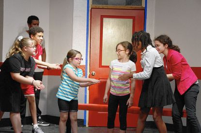 """Cast of """"High School Musical"""" at Laurel Mill Playhouse includes, from left, Allison Wickline, Nathaniel Thompson, Jordan Essex (rear), Delaney McGinniss, Carly Pometto, Yasmine Noland and Samantha Roberts."""