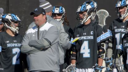 Johns Hopkins coach Dave Pietramala looks on during a season-opening loss to Towson.