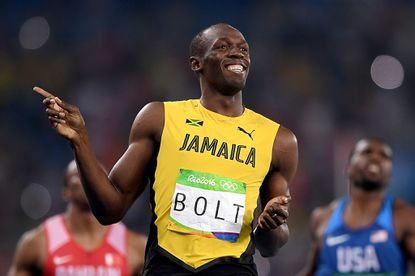 Usain Bolt of Jamaica reacts after competing in the men's 200-meter semifinals on Aug. 17, 2016.