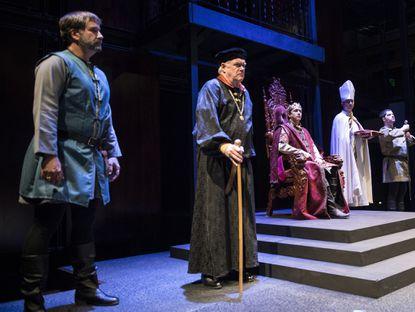 "From left, Michael P. Sullivan (Duke of York), Frank B. Moorman (John of Gaunt), Jonas David Grey (the king) and others in Chesapeake Shakespeare Company's ""Richard II."""