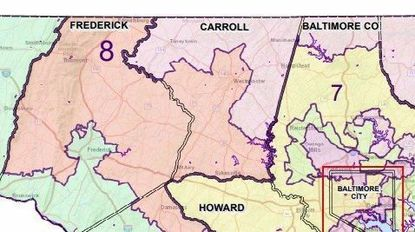 Carroll County is divided mainly between the 8th Congressional District (red) and the 1st Congressional District (purple), with some parts to the south in the 7th Congressional District (yellow).