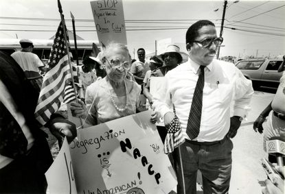 Archive photo: Eolia P. McMillan, national president of the NAACP and Rev. John Wright start on their journey to Ocean City's Boardwalk to demonstrate against hiring practices by businesses.
