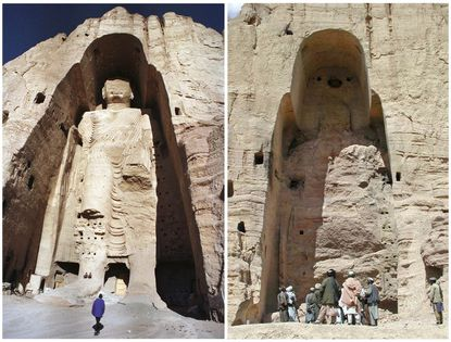 A combination photo of the 55-metre-high Buddha statue in Bamiyan, central Afghanistan in December 18, 1997 (left) and after its destruction by the Taliban in March 2001. (REUTERS/Muzammil Pasha, Sayed Salahuddin/Files)