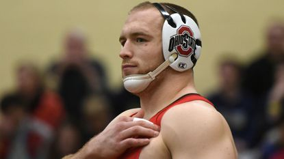 Ohio State's Kyle Snyder, an Olympic gold medalist, gets ready for his Big Ten match against Maryland's Youssif Hemida at Good Counsel last year.