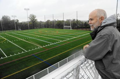 John R. Byrd, director of Howard County Department of Recreation and Parks, on the press box of the upper field at the new Troy Park at Elkridge. The county will open Phase I of the $45 million facility this weekend.