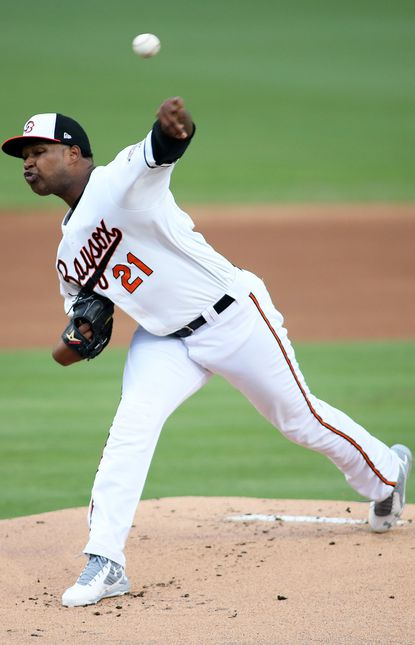 Bowie Baysox pitcher Jayson Aquino (21) in action during a Military Appreciation game at Prince George's Stadium in Bowie, Maryland. Photo by: Daniel Kucin Jr. Baltimore Sun