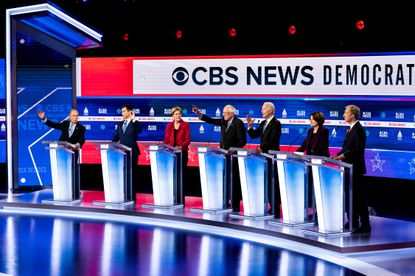 Candidates respond to statements at the Democratic presidential debate in Charleston, S.C., Tuesday, Feb. 25, 2020.