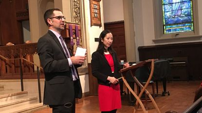The Rev. Andrew Foster Connors, senior pastor at Brown Memorial Park Avenue Presbyterian Church, and Baltimore City Health Commissioner Dr. Leana Wen spoke to the congregation about the opioid crisis after the Sunday morning service.