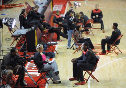 Members of the Maryland basketball team are seen during the team's media day.