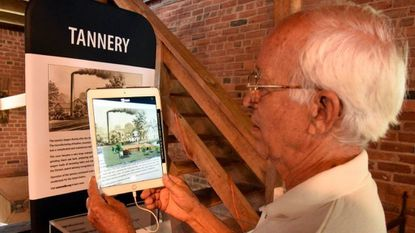 Miller at the Union Mills Homestead, Ivan Lufriu, tries out the new Virtual Reality Exhibit at the Homestead.
