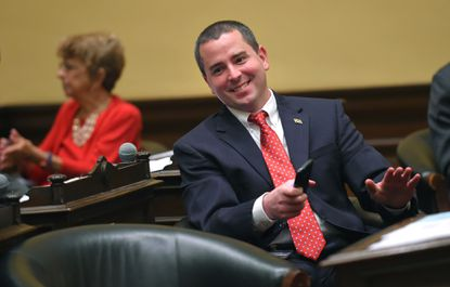 Councilman Eric T. Costello at Baltimore City Hall after a City Council vote.