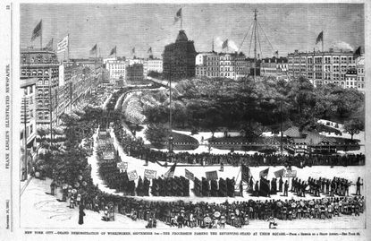 First Labor Day Parade New York City September 5 1882 New York City Grand Demonstration of Workingmen , September 5. The procession passing reviewing stand at Union Square From a sketch by a staff artist Frank Leslie's Illustrated Newspaper - Original Credit: Frank Leslie's Illustrated Newspaper Published September 16 1882