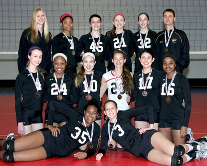 The Maryland Juniors 15 Elite team. Back (L to R): Rebecca Moake, Kiera Holtzclaw, Camille Johnson, Gabrielle Peitsch, Camryn Bevis and Matt Moake. Middle: Samantha Miller, Jade Williams, Maya Takashima, Camryn Allen, Samantha Lala and Whitney Chappell. Front: Carmen Freeman and Sara Binkley