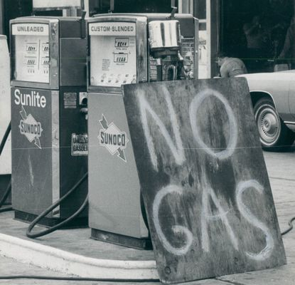 May 13, 1979 - GAS SHORTAGE -- There were no lines at the Sunoco station in the 4500 block Falls Road yesterday. No gas, either. Photo taken by Baltimore Sun Staff Photographer Ralph L. Robinson.