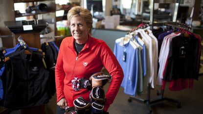 """Joan Lovelace, who was the first female to play on a high school boys' team in Howard County, will coach the Howard Tech Council's """"Techies and Tees"""" golf clinic."""