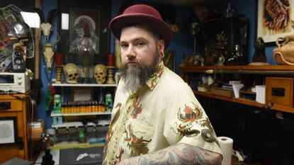 """Creepy Jason"" of House of Madness Tattoo Emporium & Odditorium in Hampstead on Tuesday, June 4."