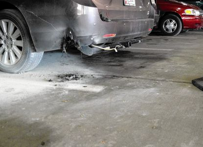 People were briefly evacuated from a multi-level parking garage and medical offices on the at the University of Maryland Upper Chesapeake Medical Center campus in Bel Air Wednesday morning after a vehicle in the garage caught fire.