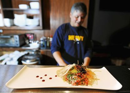 Sticky Rice, a new Fells Point restaurant, offers Tuna Tartare with quail egg.