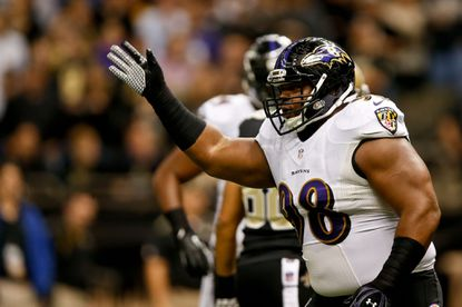 Ravens nose tackle Brandon Williams reacts after a New Orleans Saints turnover during the first quarter of a game at the Mercedes-Benz Superdome.