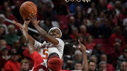 Maryland guard Kaila Charles (5) goes around Ohio State forward Alexa Hart (22) on her way to the basket during the second half at Xfinity Center on Jan. 22, 2018.