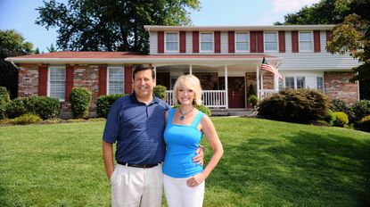 Anthony and Maura Iacoboni in front of their dream home in Timonium.