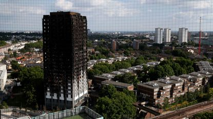 The remains of Grenfell Tower in London on June 17.