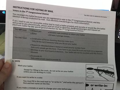 As Maryland undertakes its first election held primarily via mail, an early problem emerged this week as ballots landed in voters' mailboxes: some of the instructions are wrong. A 7th Congressional District ballot for the special general election is shown.