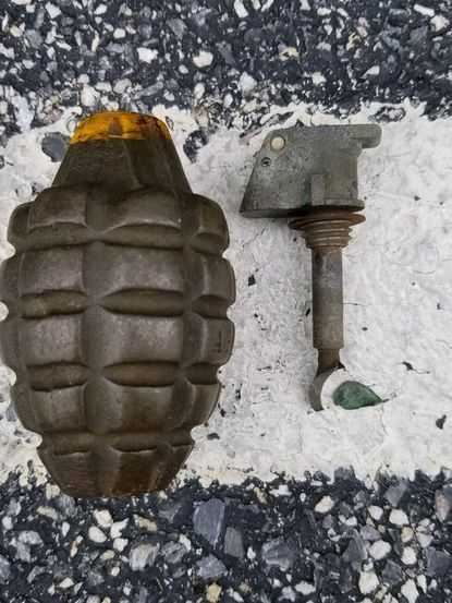 This inert grenade was discovered in the unit block of S. Church St. in Westminster on Friday afternoon.