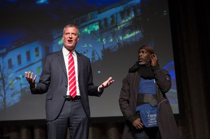 Mayor Bill de Blasio performs during the annual Inner Circle Show with actor Michael K. Williams at the New York Hilton Midtown on Saturday, April 9, 2016.