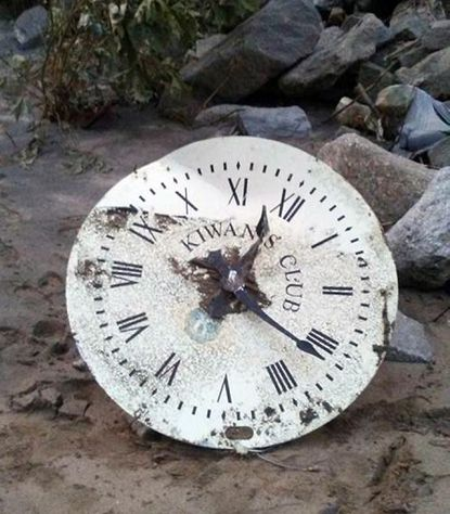 Part of the Ellicott City clock was found downstream on the Patapsco by kayaker Bobby Barker.