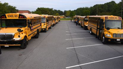 In this file photo, buses line up during Carroll County School's bus inspection at Century High School on Monday August 21, 2017.
