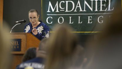 Alina Fernández, daughter of the late Cuban dictator Fidel Castro speaks about her experience growing up in the Cuban Revolution at McDaniel College in Westminster Thursday, Oct. 11, 2018.